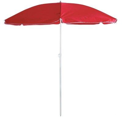 Солнцезащитный зонт с наклоном для пляжа складной BU-69 Красный, диаметр 165 см, штанга 190 см