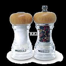 Многоразовая мельница для перца и солонка 13 см KL-11108 прозрачные