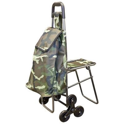 Сумка-тележка хозяйственная с 6 колесами C-302, 50 кг, Камуфляж
