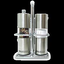 Мельница для перца и солонка металлические 13 см KL-11122 на подставке