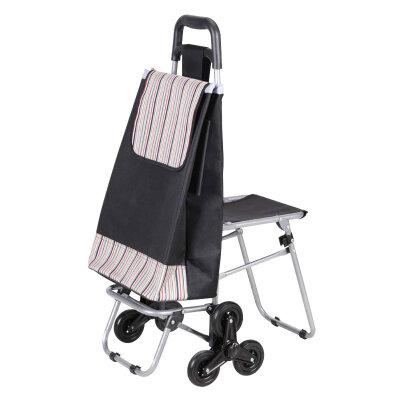 Сумка-тележка с 6-ю колесами и стульчиком C302-1 Рыжий кот, до 50 кг