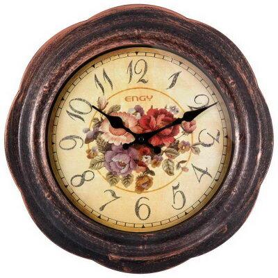 Настенные часы большого диаметра 37 см ENGY ЕС-18 без секундной стрелки с цветами