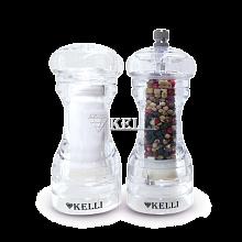 Набор мельницы для перца и солонки 13 см KL-11102 прозрачные