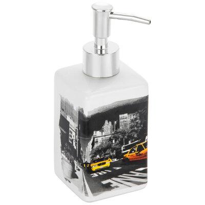 """Рыжий КОТ DIS-NY Диспенсер керамический наливной для жидкого мыла """"Нью-Йорк"""" 250 мл"""