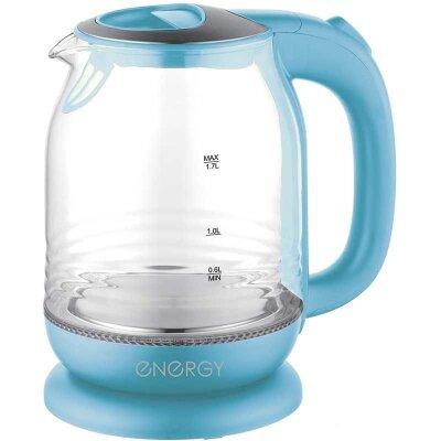 Чайник электрический 1.7 л ENERGY E-294 стекло пластик цвет голубой 2200 Вт