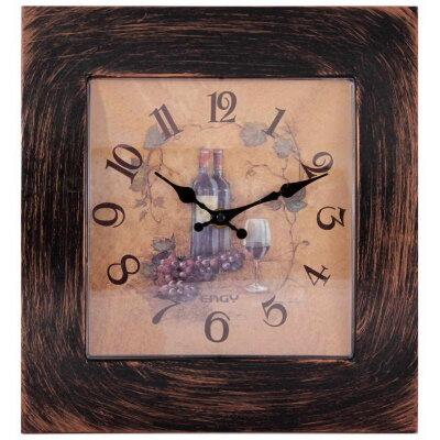 Настенные часы без секундной стрелки квадратные 28х26 см ENGY ЕС-20 для кухни