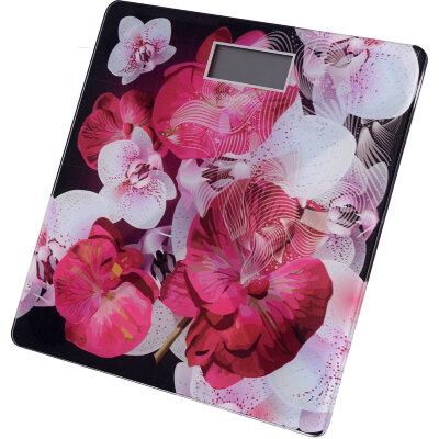 Весы бытовые напольные электронные до 150 кг С Орхидеями MAX-304 стеклянная поверхность
