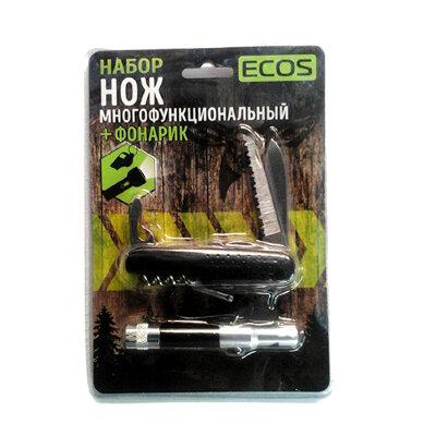 Нож складной многофункциональный туристический и фонарик арт.325128 ECOS, цвет Черный