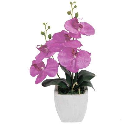 Искусственная Орхидея в керамическом горшке AF-04 для декора 38x23x10 см светло-фиолетовая