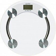 Напольные весы прозрачные круглые до 180 кг MAXTRONIC MAX-1603 стеклянные
