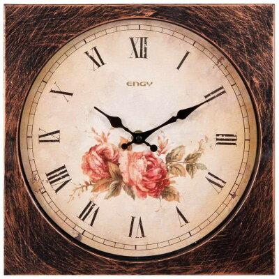 Настенные часы без секундной стрелки 26х26 см ENGY ЕС-21 с цветами форма квадрат
