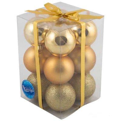 Набор матовых и глянцевых шаров на елку 6 см PB6-12SMB-G 12 штук золотистые