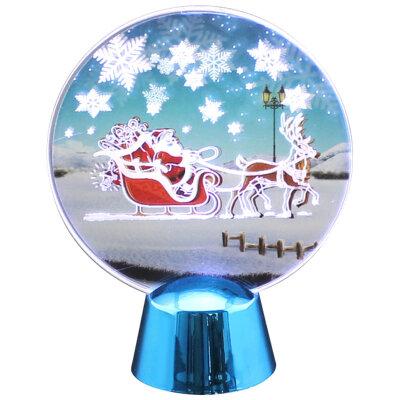 """Светильник светодиодный новогодний мигающий """"Дед мороз в санях"""" белый свет"""