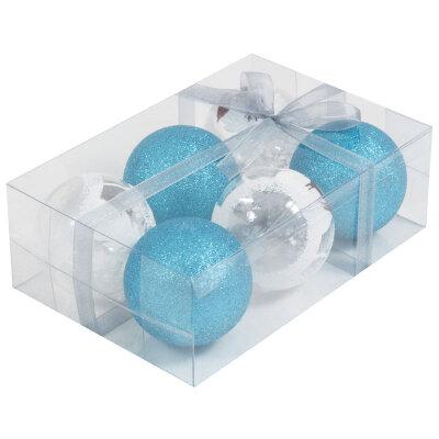 Набор пластиковых прозрачных и матовых елочных шаров 6 см PB6-6TDG-2-B 6 шт белый и синий