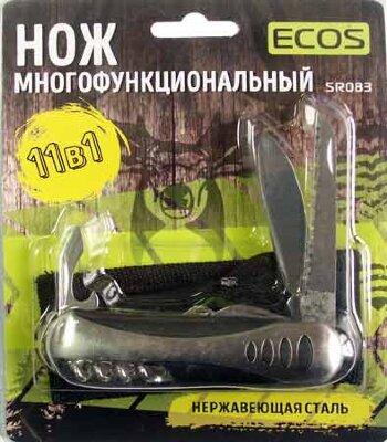 Нож туристический складной многофункциональный SR083 ECOS , 12 в 1, цвет Металлик