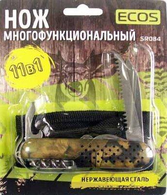 Нож походный складной многофункциональный ECOS SR-084 11-в-1, цвет Милитари