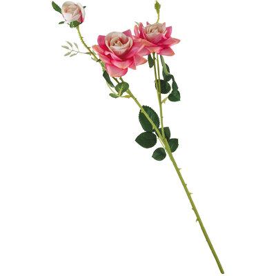 Искусственный цветок для интерьера Роза 2 цветка+1 бутон 63.5 см