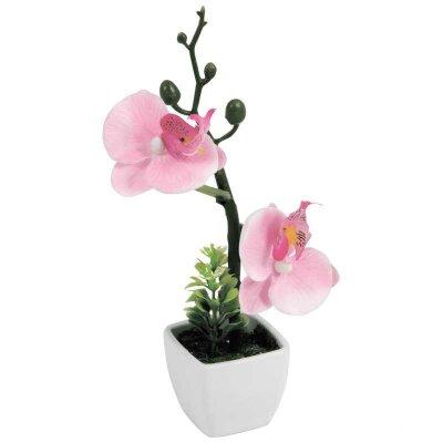 Искусственная Орхидея в горшке AF-06 для декора 20x10x5 см нежно-розовая