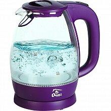 Чайник электрический с прозрачным стеклянным корпусом 1.7 л ОЧАГ PR-1786-3 с подсветкой и фильтром, Фиолетовый