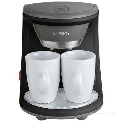 Капельная кофеварка на 2 чашки ENERGY EN-605 черная 450 Вт