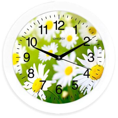 Часы настенные круглые Ромашки 28 см ENERGY ЕС-98 с плавным ходом