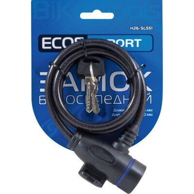 ECOS H26-SL551 Замок противоугонный для велосипеда на тросе 1 м с ключами