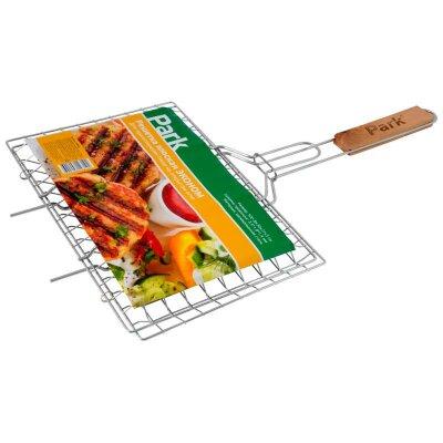 Решетка гриль для стейков и бургеров на углях, плоская PARK ЭКОНОМ 30х21х3см