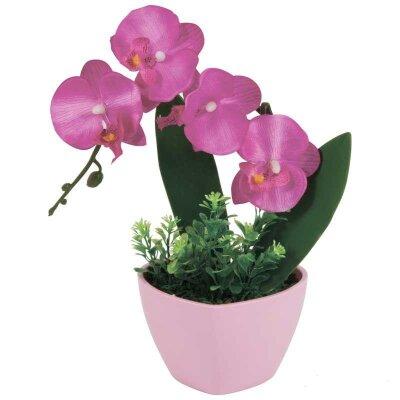 Искусственная Орхидея в розовом горшке для декора AF-05 24x20x15 см
