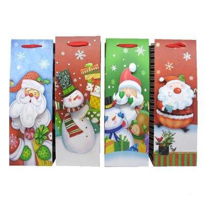 """Бумажный пакет для бутылки с новогодней символикой """"Christmas"""""""