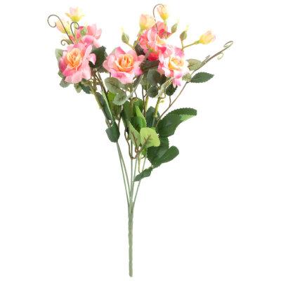 Искусственный цветок для декора Розочка кустовая 34.4 см из пластика и ткани