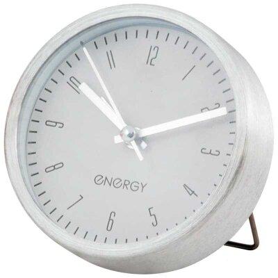 Часы будильник настольные на батарейке ENERGY EA-02 9.3х3.3 см , Белый