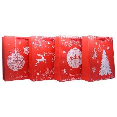 """Пакет с новогодней символикой с блестками """"Fairytale"""" L 30х39.5х12"""