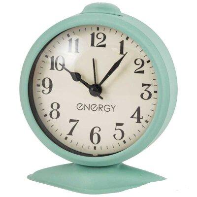 Часы будильник настольные с крупными цифрами ENERGY EA-03 круглый на батарейке , цвет Салатовый