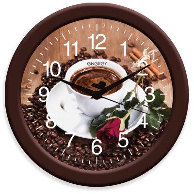 Часы круглые настенные Чашка Кофе 28 см ENERGY ЕС-101 кварцевые с плавным ходом