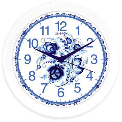 Часы круглые настенные 28 см ENERGY ЕС-102 кварцевые, бесшумные, Гжель