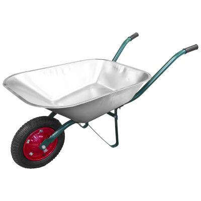 Тачка садовая одноколесная с оцинкованным корытом PARK WB 4307 до 130 кг, надувное колесо 33 см