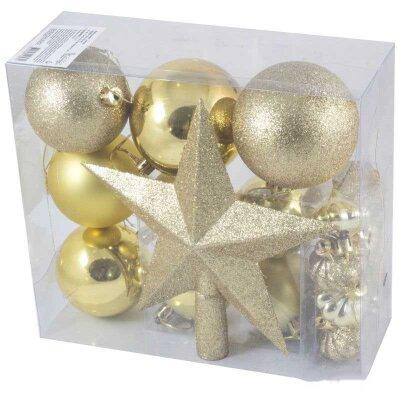 Набор новогодних шаров + верхушка звезда SYCB17-518 18 штук (8 см, 7 см, 6 см, 4 см, звезда 21 см)