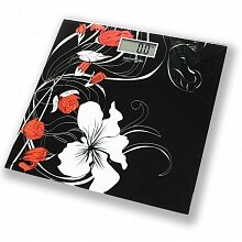 Весы напольные электронные стеклянная платформа до 150 кг MAXTRONIC MAX-305 черные с цветами