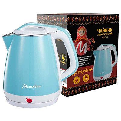 МАТРЁНА MA-004 Чайник электрический стальной 1.8 л стальной бело-голубой, двойной корпус