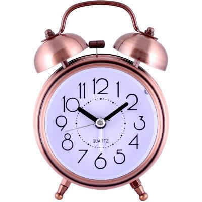 """Часы будильник настольные с крупными цифрами MAXTRONIC MAX-32G с звонком колоколом """"Винтаж"""", Бронзовый"""