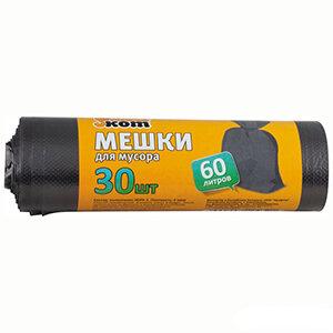 Мешки для мусора 60 л РЫЖИЙ КОТ 30 шт рулоне черные 6 мкм