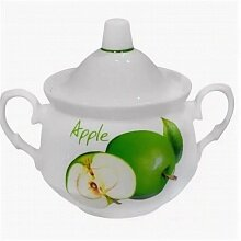 Сахарница 450 мл Кирмаш ф397 Зеленое яблоко арт ДБ_7С1102/1Ф34 фарфор