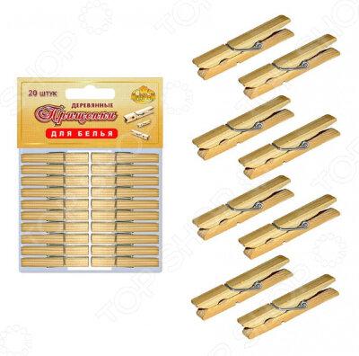 Прищепки бельевые деревянные 20 штук МультиДом LF75-65