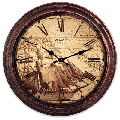 Часы настенные большого диаметра 40 см ENERGY ЕС-103 без секундной стрелки, цвет - бронзовый