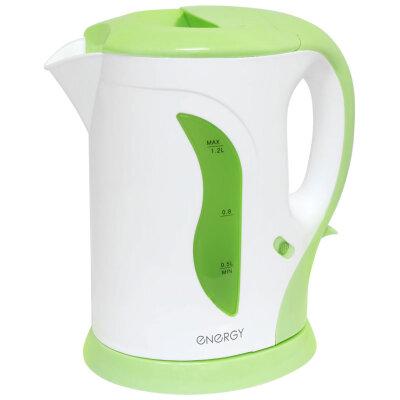 Чайник электрический пластиковый 1.2 л ENERGY E-207 1100 Вт с фильтром от накипи, бело-салатовый