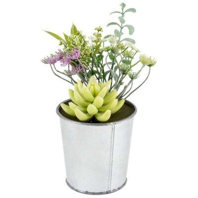 Букет из искусственных цветов в горшке Нежность для декора 11x11x23 см