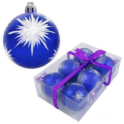 Набор новогодних шаров синих с рисунком PBD6-6-054-B 6 штук 6 см