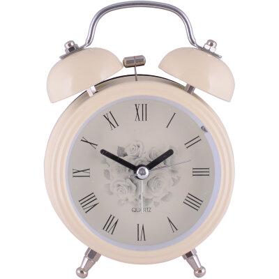 """Часы будильник настольные на батарейках MAXTRONIC MAX-32 """"Нежность"""", 9x12x4.5 см, бежевый"""