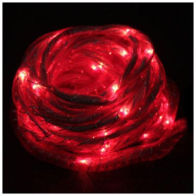 """Гирлянда мигающая одноцветная """"Шнурок"""" Rope-100-5-R Красная 5 метров 100 рисовых ламп 8 режимов"""