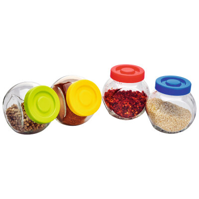 Набор банок 4 шт по 0.15 л Mallony VASO стеклянные с пластиковыми крышками для cпеций и приправ